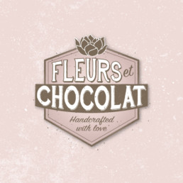 logo Fleurs et Chocolat vintage logo logo-ontwerp logo fleurs logo chocolat